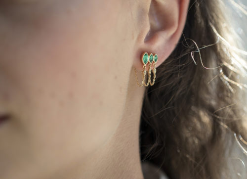 Celine Daoust Protection and Believes Triple Marquise Emerald and diamond eyes Single Chain Earring