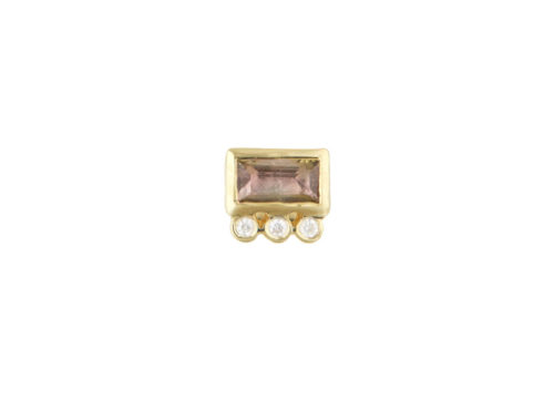 Celine Daoust Protection and Believes Baguette Tourmaline and tubes Diamonds Single Earring stud