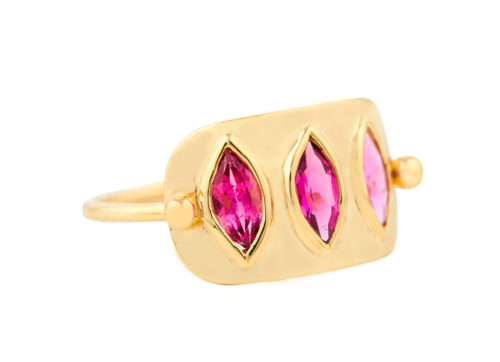 Celine Daoust Geometric Marquise Pink Tourmaline Plate Ring