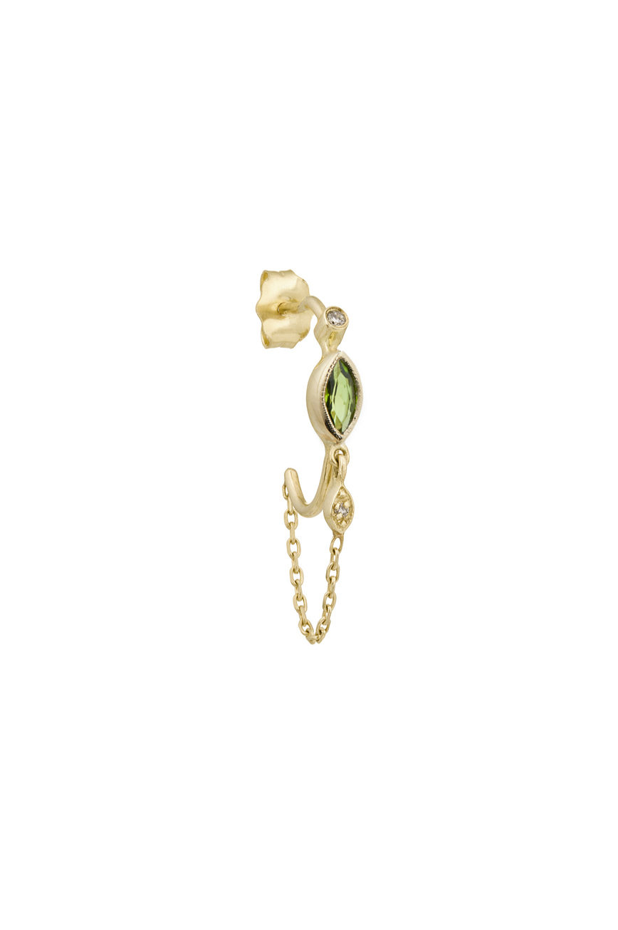 Celine Daoust Protection and Believes Tourmaline and diamond eyes single hoop and chain Earring