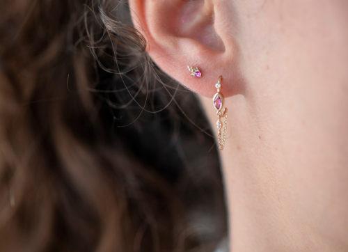 Celine Daoust Constellation Rosecut Tourmaline shooting star single Earring Stud
