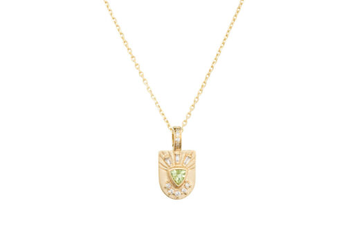 Celine Daoust Guardian Spirit Totem Tourmaline Triangle and Diamonds Necklace