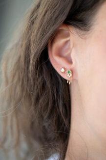 Celine Daoust One of a Kind Triangle tourmaline and Diamonds Earring
