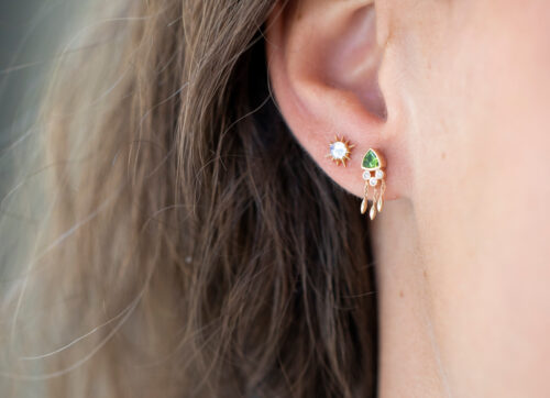 Celine Daoust One of a Kind Triangle tourmaline and Diamonds Earring