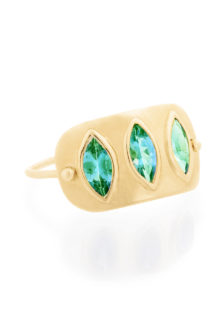 Celine Daoust Geometric Marquise Emerald Plate Ring