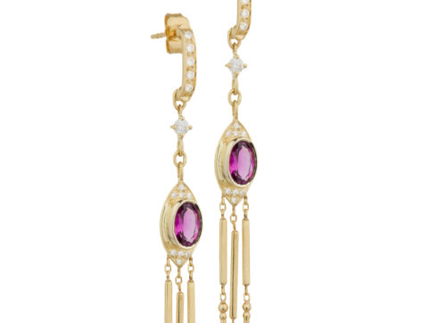 Celine Daoust Guardian Spirit Yellow Gold Tourmaline and Diamonds Dangling Details Earring