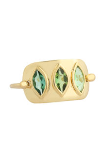 Celine Daoust Geometric Marquise Green Tourmaline Plate Ring