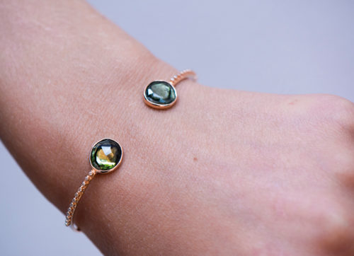 Celine Daoust One of a Kind Tourmaline and tube Diamonds Bangle