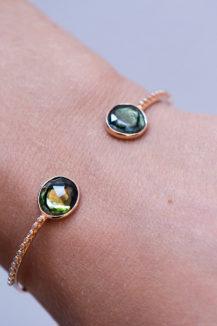 Celine Daoust One of a Kind Tourmaline and tube Diamonds Bangle