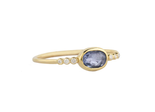 Celine Daoust One of a Kind central Sapphire and tube Diamonds Ring