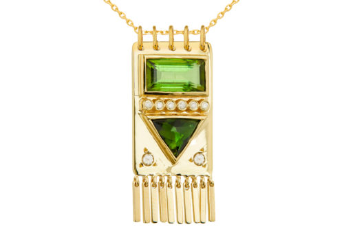 Celine Daoust Totem Tourmaline baguette and Diamonds Necklace