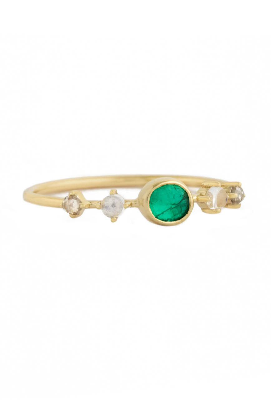 Celine Daoust One of a Kind Emeralds with 2 Diamonds and Moonstones Ring