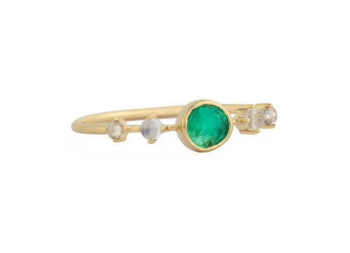 Celine Daoust One of a Kind Emerald with 2 Diamonds and Moonstones Ring