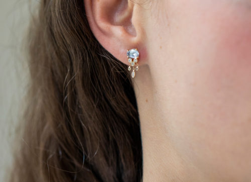 Celine Daoust One of a kind Sapphire and Diamonds Dangling Single Earring
