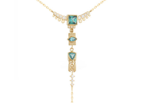 Celine Daoust Guardian Spirit Tourmalines and Diamonds Lariat Totem Necklace