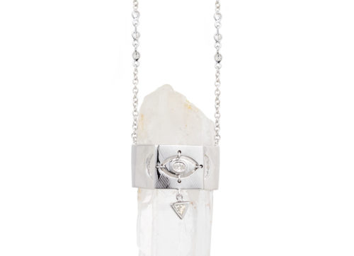 Celine Daoust One of a kind Pencil Quartz & Oval diamond eye and trillion Diamond chain Necklace