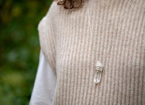 Celine Daoust One of a kind Pencil Quartz & Oval diamond eye and trillion Diamond chain Necklace