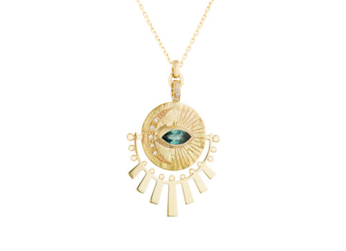 Celine Daoust Guardian Spirit Plate engraved Moon, Marquise Tourmaline and sun Beams