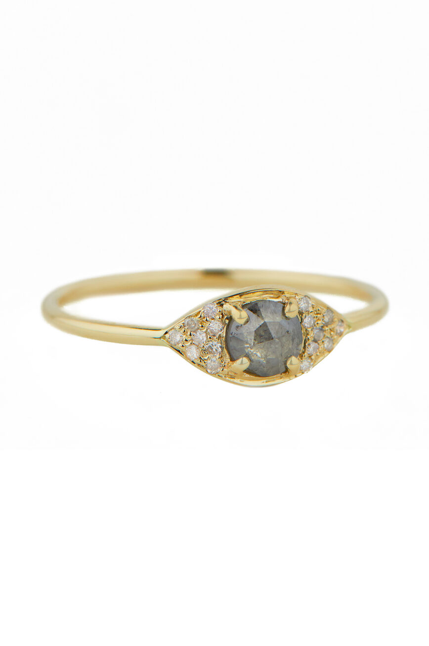 Celine Daoust One of a Kind Grey diamond slice and Brillant Full Mini eye Ring