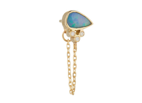 Celine Daoust One of a Kind Opals Doublet with 3 tube Diamonds Single Chain Earring