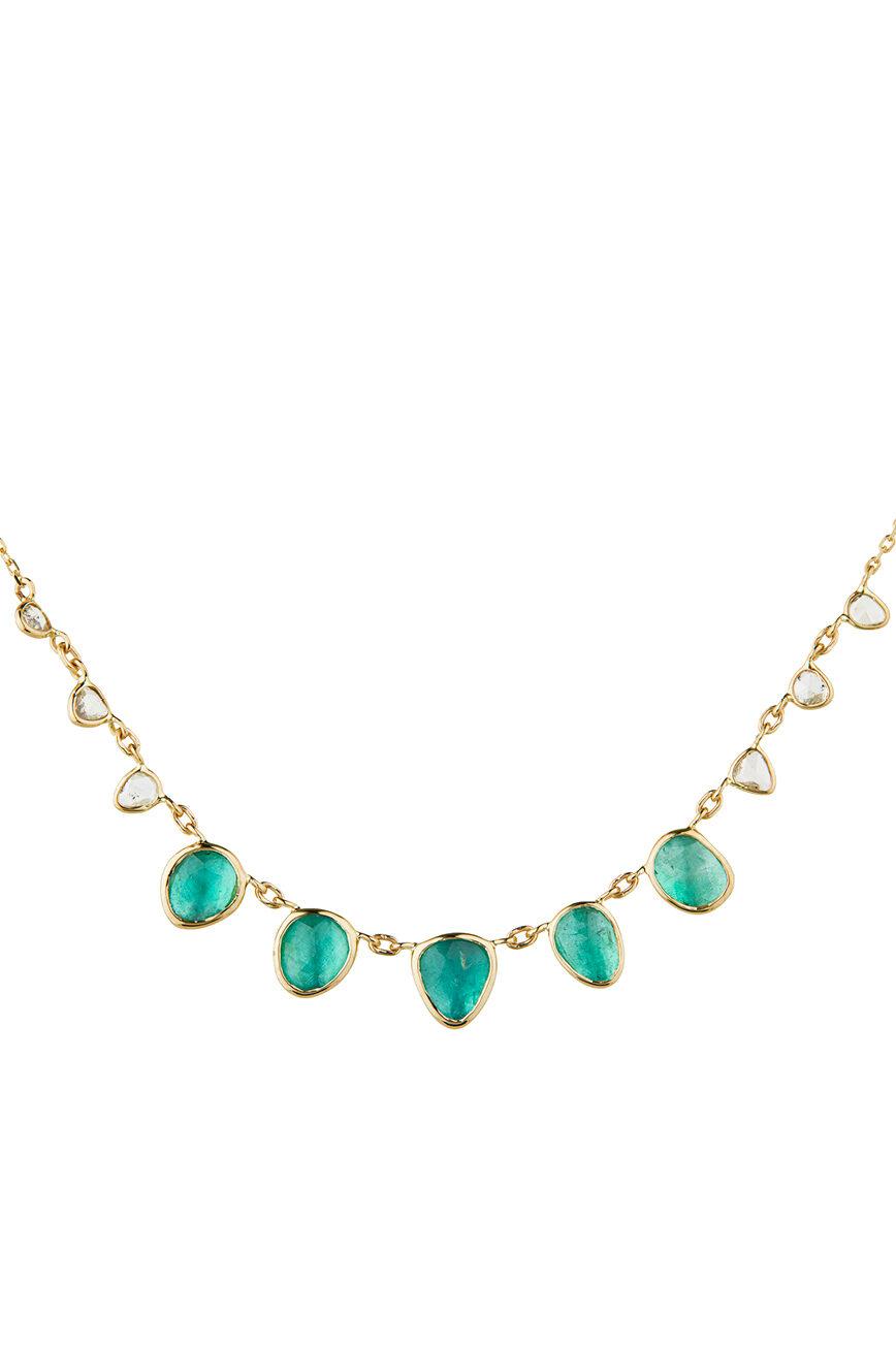 Celine Daoust One of a Kind multi Emerald and rose cut Diamonds Necklace