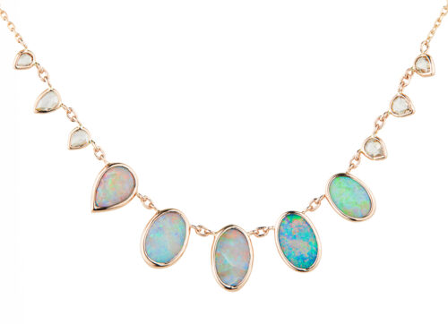 Celine Daoust One of a Kind multi Opal and rose cut Diamonds Necklace