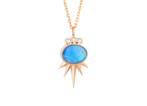 Celine Daoust_Opal Sun with tube Diamonds Chain Necklace