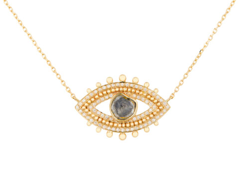 Celine Daoust Protection and Believes Grey diamond eye diamonds and gold balls Necklace