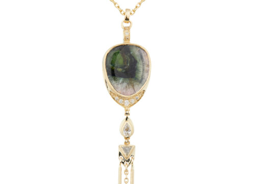 Celine Daoust Mandala Yellow Gold Tourmaline and Diamond Necklace