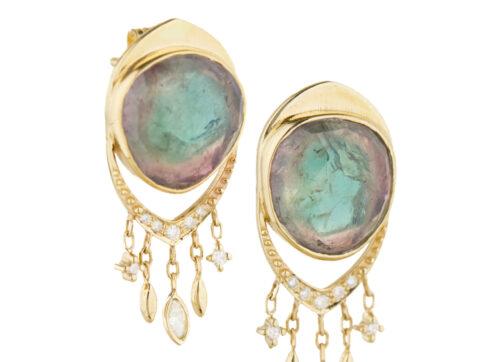 Celine Daoust One of a Kind Tourmaline & dangling diamonds Earring