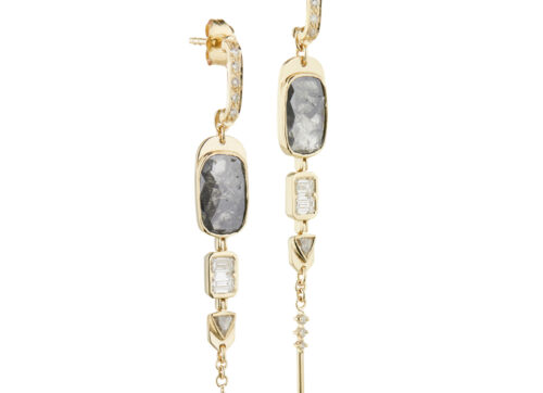 Celine Daoust Slice of the Universe Grey Diamonds and diamonds baguette Earring