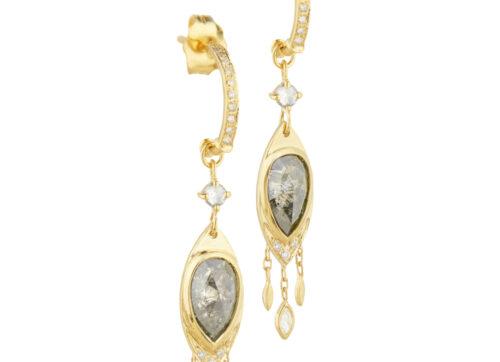 Celine Daoust Slice of the Universe Grey Diamonds & dangling diamonds Earring