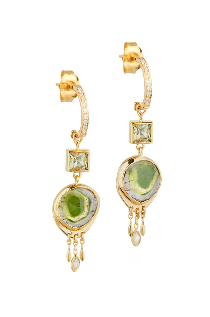 Celine Daoust One of a Kind Tourmaline & Square Tourmaline with dangling diamonds Earring