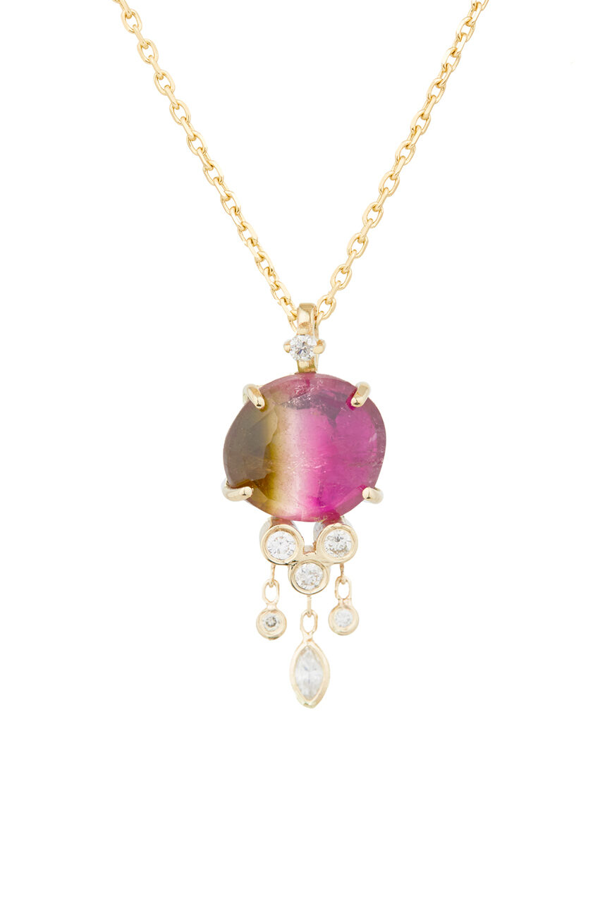 Celine DaoustO ne of a kind Tourmaline and Dangling Diamonds Jellyfish Necklace