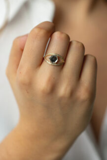 Celine Daoust One of a Kind Grey Diamond and Diamonds Open eye Ring