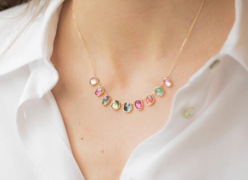 Celine Daoust One of a Kind multi Tourmaline and rose cut Diamonds Necklace
