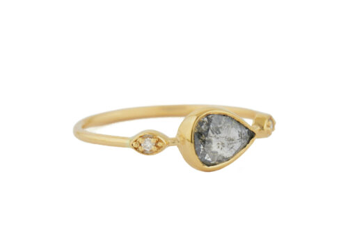 Celine Daoust Slice of te Universe Grey Diamond with 2 Diamond Eyes Ring
