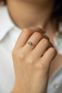 Celine Daoust Slice of the Universe Grey Diamond with 2 Diamond Eyes Ring