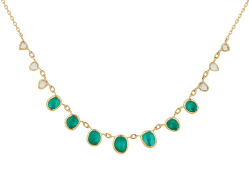 Celine Daoust Multi Emeralds and Diamonds slices and rose cut Diamonds Necklace