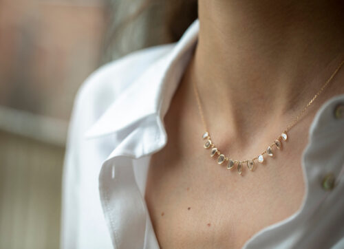 Celine Daoust Slice of the Universe multi Grey Diamonds slices and rose cut Diamonds Necklace