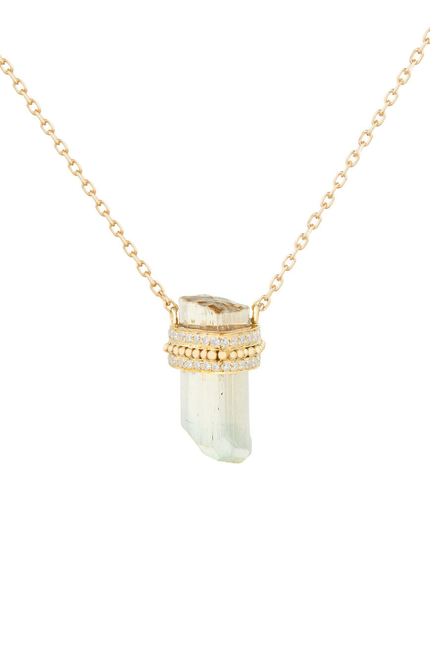Celine Daoust One of a Kind Rough pencil tourmaline diamonds and gold balls Chain Necklace