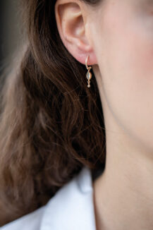 Celine Daoust Protection and believes Marquise tourmaline and dangling diamond Single Hoop Earring