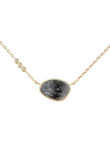 Celine Daoust One of a Kind Grey diamond slice with small diamond Necklace