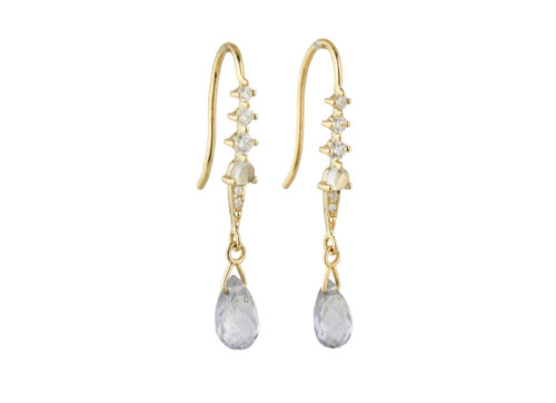 Celine Daoust One of a Kind Pear Tourmaline moonstone and Diamonds Dormeuse Earring