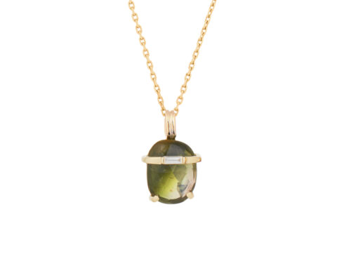 Celine Daoust One of A kind Tourmaline and Diamond baguette Necklace
