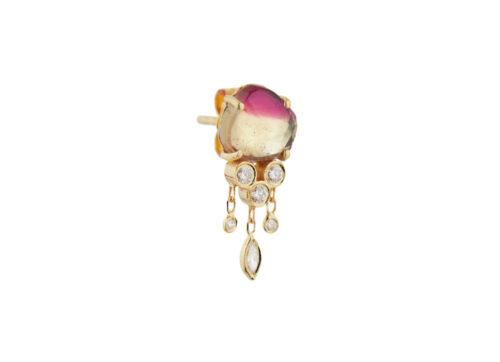 Celine Daoust One of a kind Tourmaline and Diamonds Dangling Single Earring