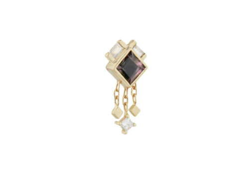 Celine Daoust One of a kind Square Tourmaline and Diamond Baguettes Single Earring