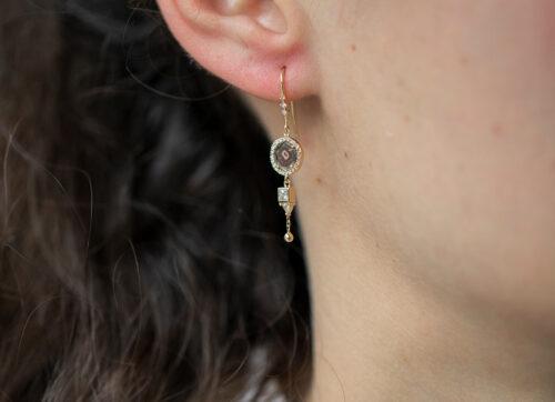 Celine Daoust Slice of the Universe Grey Diamonds and Diamonds Earrings