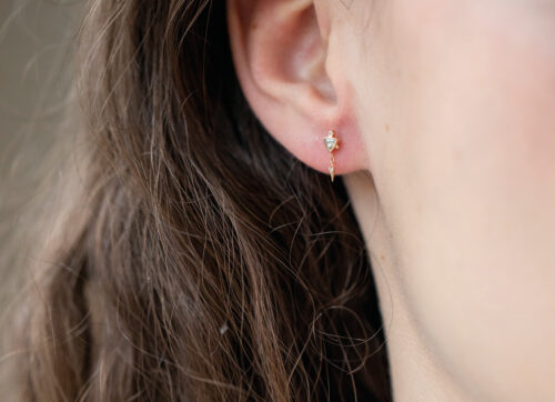 Celine Daoust Trillion Diamond and Dangling Diamond Single Earring