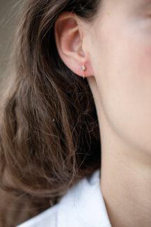 Celine Daoust Trillion Diamond and Dangling Diamond Single Earring